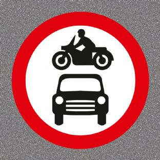 No Motor Vehicles Road Sign